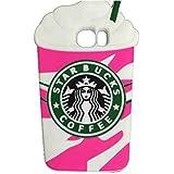 S6 Case,Galaxy S6 Case,Galaxy S6 Silicone Case,Tribe-Tiger Cartoon Starbucks Ice Cream Silicon Gel Rubber Case Cover Skin for Samsung Galaxy S6(Strawberry Cream)