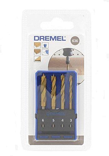 Dremel 636 Holz Bohrer Set Zubeh/örsatz f/ür Multifunktionswerkzeug mit 4 Holzbohrer Faser -und Spanplatten und Laminate 3,4,5 und 6 mm zum Bohren in Weich- und Hartholz