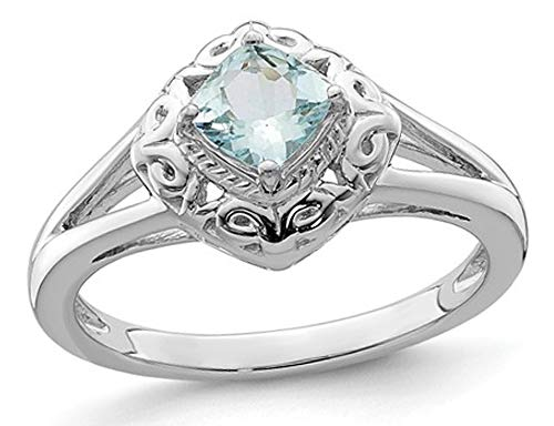 1/2 Carat (ctw) Natural Square Cut Aquamarine Ring in Sterling Silver