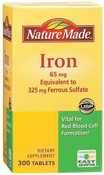 Nature Made 65mg Iron Tablets, 300 ct. AS