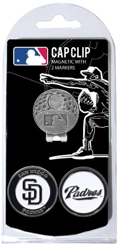 (Team Golf MLB San Diego Padres Golf Cap Clip with 2 Removable Double-Sided Enamel Magnetic Ball Markers, Attaches Easily to Hats)
