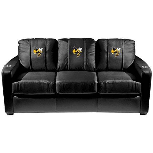 XZipit College Silver Sofa with Georgia Tech Yellow Jackets Buzz Logo Panel, Black