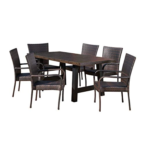 - Great Deal Furniture 303930 Daisy Outdoor 7 Piece Stacking Multibrown Wicker Set with Brown Stone Finish Light Weight Concrete Dining Table, Black