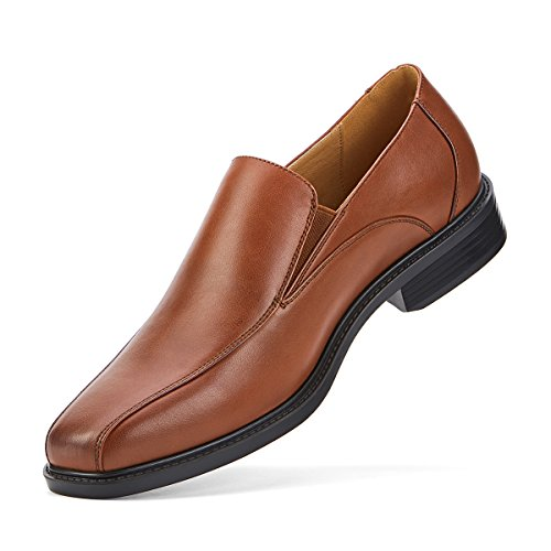 SEMANS Men's Dress Shoes Slip On Formal Leather Loafer Shoes Stylish Bicycle Toe Brown 9.5 D(M) US (Leather Side Gore)