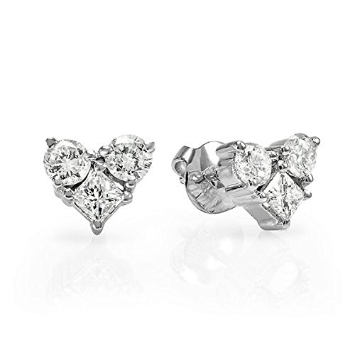 0.35 Carat (ctw) 14K White Gold Round & Princess White Diamond Heart Stud Earrings