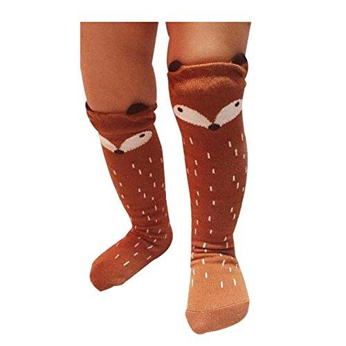 calcetines de los ninos - TOOGOO(R)Ninos Ninas Zorro Patron Rodillera calcetines altos para la edad de 1-3 anos (Cafe, 27cm): Amazon.es: Ropa y accesorios