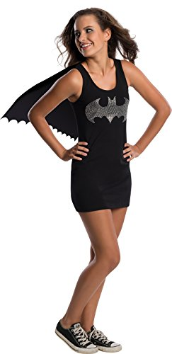 Rubie's Costume Co DC Comics Justice League Superhero Style Teen Dress with Cape Rhinestone Batgirl, Black, Small Costume]()