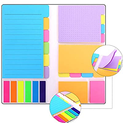 Skydue Divider Sticky Notes Bookmark Stick Note Tabs Prioritize with Color Coding, 60 Ruled Lined, 48 Dotted, 48 Blank, 96 Sticky, 150 Index Tabs, 402 Total Tab Divider Notes