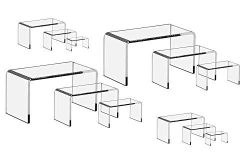 CuteBox 12 Piece Set - Clear Acrylic Display Risers, Acrylic Clear Riser Sets Display Stand ()
