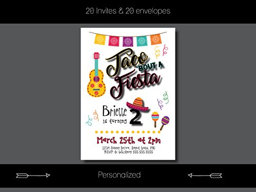 Custom Birthday Party Invitation - Let's Taco 'Bout It, Personalized (20 count)