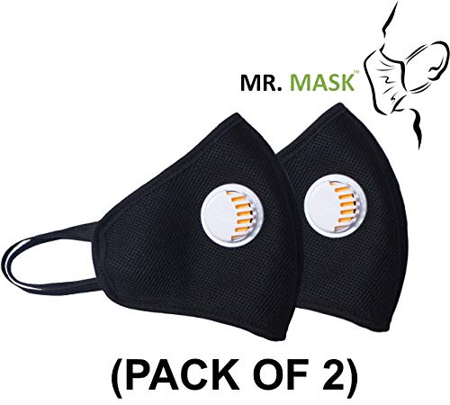 MR MASK® Anti Dust & Anti Pollution N95 Plus (Pack of 2) 5 Layer Face Mask with Respirator Reuseable Washable (Black) Price & Reviews