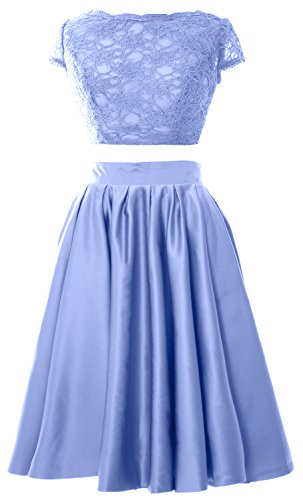 MACloth Women 2 Piece Cocktail Dress Cap Sleeves Short Lace Prom Formal Gown Cielo azul