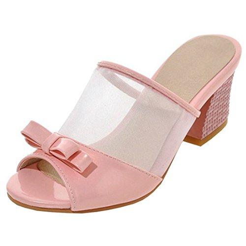 YE Damen Chunky Heels Sandalen Blockabsaz Peep Toe Pantoffeln Mules mit Schleife 5cm Absatz Sommer Schuhe Pink