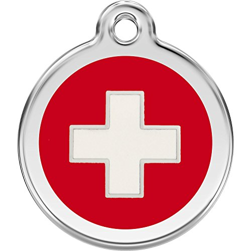Swiss Tag - Red Dingo Personalized Swiss Cross Pet ID Dog Tag (Large)
