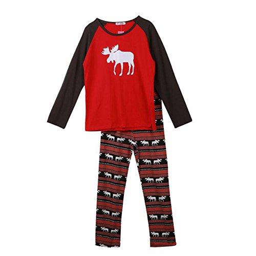 Pigiama Famiglia Pcs Deylaying Outfits Stampa Vestiti accoppiamento Sets lunga Manica Natale notte Men Nightwear Indumenti Alce da 2 Cotone 8wtAqtS5T