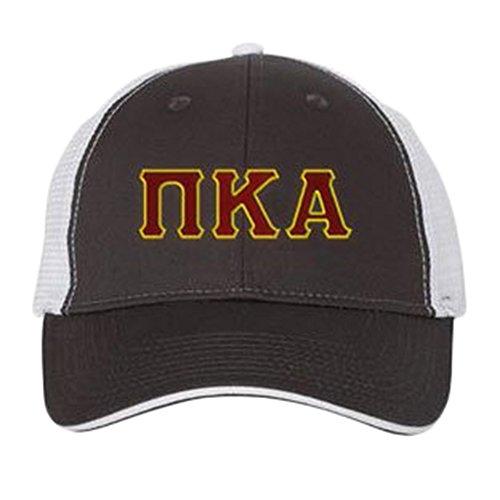 Pi Kappa Alpha Pike Double Greek Trucker Cap Charcoal/White (Hat Kappa Alpha Pi)