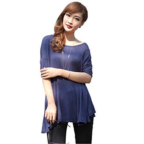 QIYUN.Z Femmes Couleur Unie Moitie Manches Irreguliere Ourlet Creux T-Shirts Occasionnels T-Shirts