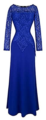 BAIMIL Women Lace Sleeveless Sexy Strap Slit Wedding Party Long Dress