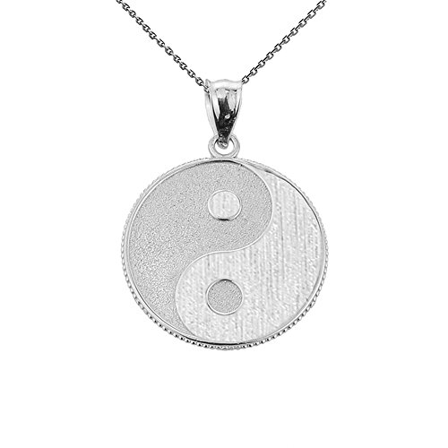 (Good Luck Charms 925 Sterling Silver Milgrain-Edged Satin Finish Charm Yin and Yang Pendant Necklace, 18