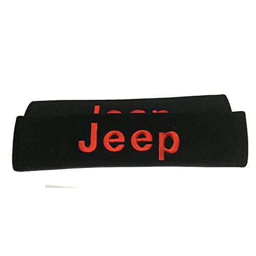 New 2 Pad Car Jeep Seat Belt Covers Shoulder Pads Red Embroidered Wording Cushion Suitable Seat Belt Decoration Fit For Jeep Car Model Design