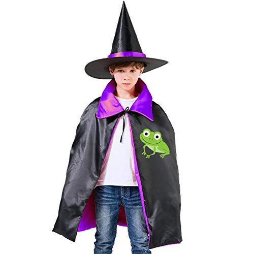 (Kids Cloak Frog Animal Wizard Witch Cap Hat Cape All Saints' Day DIY Costume Dress-up For Halloween Party Boys Girls)