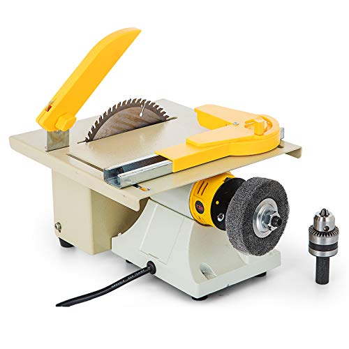 Mophorn Table Saw Multifunctional Portable Benchtop Table Saw Woodworking Cutting Polishing Carving Machine Perfect for DIY Model Makers