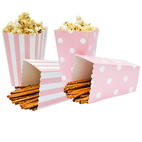 (Hoocozi 24pcs Popcorn Boxes Cardboard Candy Container for Party Favors Supplies, Stripe and Dot Pattern Deco Mixed(Pink))