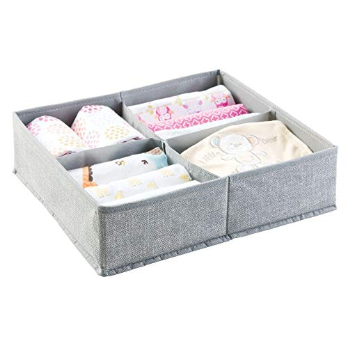 mDesign – Organizador para bebés – Caja organizadora con cuatro compartimentos para pañales, toallitas, etc. – Precioso organizador de juguetes y ...