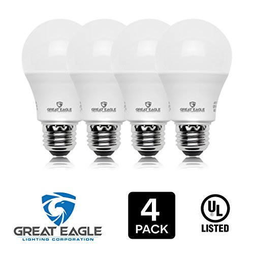 Great Eagle 100W Equivalent LED Light Bulb 1610 Lumens A19 4000K Cool White Non-Dimmable 14-Watt UL Listed (4-pack)
