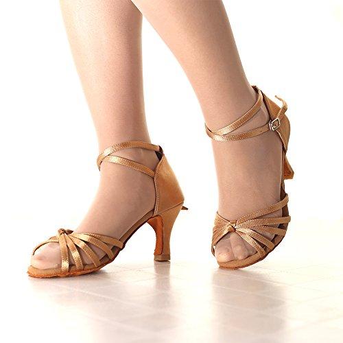 Latino Tacón Zapatos 7cm Mujer VASHCAME de para Lazo Baile tacón Alto de Medio Beige dgtqqwOXx