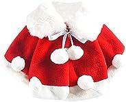 Aivtalk Baby Girls Winter Fur Cape Coat Thick Jacket Cute Pom Pom Warm Outercoat
