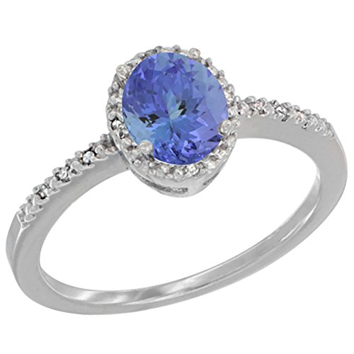 14K White Gold Diamond Natural Tanzanite Engagement Ring Oval 7x5 mm, size 8 ()