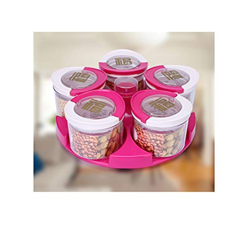 (QPSGB Glass Sealed Cans Fruit Plate Creative Plastic Dried Fruit Box European-style Living Room Melon Seeds Candy Box - tray bowl stand (Color : Pink))