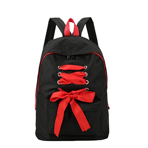 Clearance sale ! Women Backpack Simple Canvas Backpack Women Girl Rucksack Bowknot Student Bag ❤️ ZYEE (Black, (H)43cm(L)31cm(W)15cm)