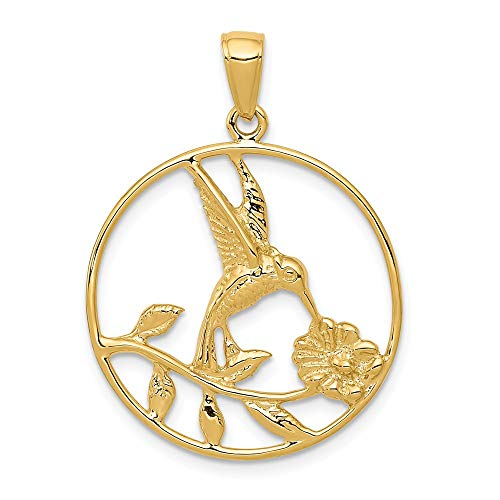 14k Yellow Gold Hummingbird In Round Frame Pendant Charm Necklace Bird Fine Jewelry Gifts For Women For Her 14k Yellow Gold Hummingbird Charm