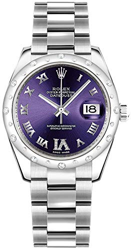 Rolex Datejust 31 Purple Diamond Dial White Gold and Steel Luxury Watch Ref. 178344