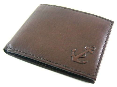 Nautica Men's Genuine Leather Bifold Passcase Wallet Brown
