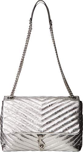 Rebecca Minkoff Women's Edie Flap Shoulder Bag Silver One Size