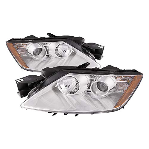 PERDE Chrome Projector Headlight Set Compatible With 2007-2011 Mazda CX-7 With Factory-Equipped Halogen Headlamps