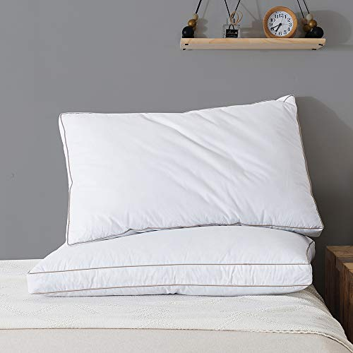 WhatsBedding Natural Goose Down Feather Pillows for Sleeping 100% Cotton Shell with Golden Piping Bed Pillow - Set of 2 Queen Size 20x30 inch