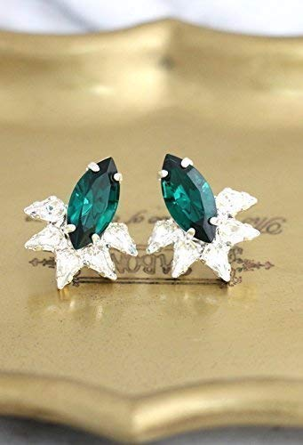 Bridal Emerald Green and White Cluster Stud Silver Earrings, Swarovski Crystal Bridesmaids Gifts, Handmade Wedding and Party ()