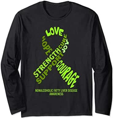 Nonalcoholic Fatty Liver Disease Awareness Ribbon With Words Long Sleeve T-Shirt