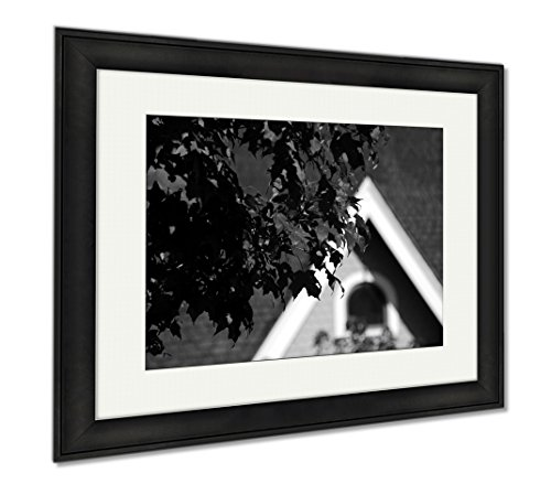 Ashley Framed Prints Red Maple Foliage In Redmond Town Center, Modern Room Accent Piece, Black/White, 34x40 (frame size), Black Frame, - Town Four Season Centre