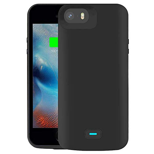 RUNSY Battery Case Compatible with iPhone 5 / 5S / SE / SE2, 4000mAh Rechargeable Extended Battery Charging Case, External Battery Charger Case, Adds 2.3X Extra Juice (4 inch)