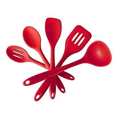 RAYYEE Home Silicone Utensil Set,Heat Resistant Kitchen Cooking and Baking Utensils,10.6-Inch (5 Piece Set) - Cherry Red by RAYYEE