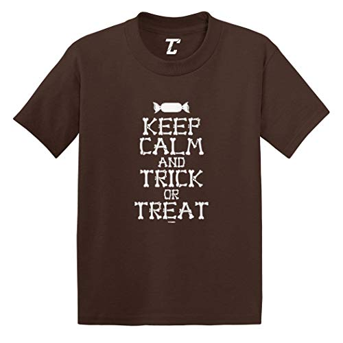 Keep Calm and Trick Or Treat - Halloween Infant/Toddler Cotton Jersey T-Shirt (Brown, 4T) ()