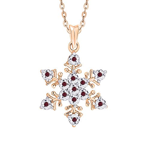 KATARINA Ruby Cluster Snowflake Pendant Necklace In 14K Rose Gold (1/20 cttw)
