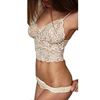 FAPIZI ? Lingerie ? 1 Set Sexy Strap Translucent Women Lace Tank Top Briefs Underwear