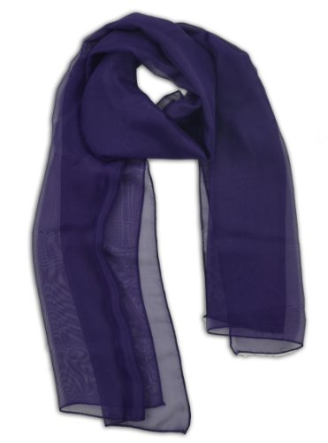 LJL Design Chiffon Scarf Oblong (Purple)