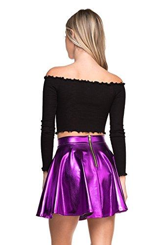 Cemi Ceri Women's J2 Love Faux Leather Back Gold Zip Mini Skater Skirt, X-Small, Purple Metallic - A-line Back Zip Skirt